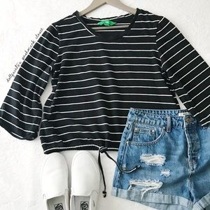 Black + White Stripe Cropped Drawstring Top